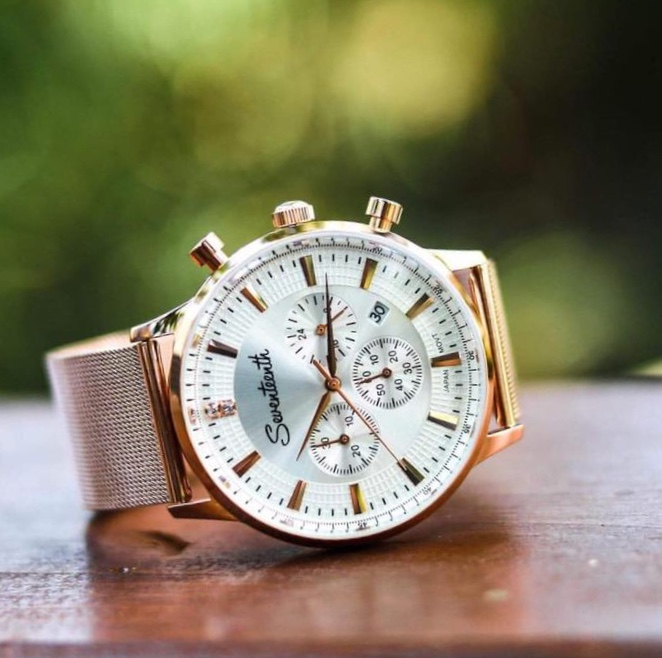 Seventeenth Watches - Sonder Chrono White Dial/Rose Gold Mesh Strap